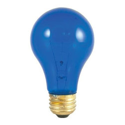 Bulbrite - Transparent Incandescent Bulbs in Blue - 24 B - One pack of 24 Bulbs. 120V A19 standard E26 medium base bulb. 360 degrees beam spread. Vibrant transparent colored party bulbs. Fade-resistant coating. Great for adding a touch of color to any fixture. Great for sign, display, amusement and theater. Lamps may vary in color when lit. Dimmable. Average hours: 2500. Color temperature: 2700 K. Color rendering index: 100. Wattage: 25 watt. Maximum overall length: 4.25 in.