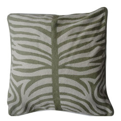 Crewel Fabric World - Crewel Pillow Zebra Khaki and Off White Cotton Duck 20x20 Inches - This Crewel Pillow is part of our flora and fauna collection. Inspired by the beauty of the Zebra, we Used the ancient art of crewel stitching that lends its richness to this evocative animal pattern, which is embroidered by hand in contrasting shades. The pillow is generous enough to Use as a floor cushion, and will add a graphic punch to a sofa or chair. �ۢ 20 x20 sq. �ۢ Backed in solid-color canvas �ۢ Hidden zipper �ۢ Dry-clean �ۢ Imported