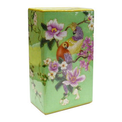 Golden Lotus - Porcelain Green Rectangular Parrot Flower Vase - This is a decent pottery piece with green crackle pattern base color and clean colorful flower and parrots scenery.( this item can be mass ordered.)