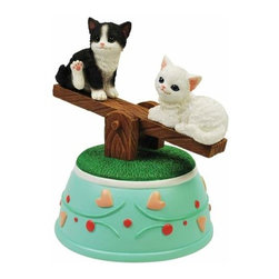 """WL - 5.25"""" Two Kittens Musical See-Saw Figurine with Hearts and Cherries - This gorgeous 5.25"""" Two Kittens Musical See-Saw Figurine with Hearts and Cherries has the finest details and highest quality you will find anywhere! 5.25"""" Two Kittens Musical See-Saw Figurine with Hearts and Cherries is truly remarkable."""