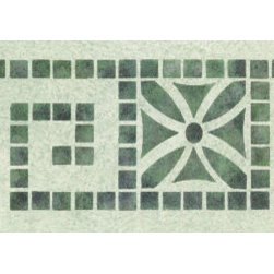 """Stencil Ease - Deco Tiles Stencil - Deco Tiles Home Decor Stencil European Classic Stencil Contains: 1 - 6"""" x 18"""" Stencil Sheet Actual Size: 4"""" high x 7 1/2"""" repeat (10.16 cm x 19.05 cm) European Classic Stencils are simple one part stencils. Wonderful for the beginning stenciler using one color as well as the more experienced artisan. The design shown here was stenciled using a stippling technique on a Faux Finish background. This design was painted using the following Spill Proof stencil paint colors: SP-24 NavySP-08 Telemark GreenSP-100 Metallic Silver Complete kit comes with stencils paints and 1 T1-68 double ended stencil brush."""