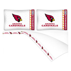 Sports Coverage - NFL Arizona Cardinals Football Queen Bed Sheet Set - Features: