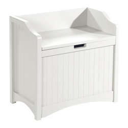 """Home Decorators Collection - Madison 24""""W Lift-Top Storage Bench - Provide extra seating and storage in your foyer or kids' playroom with the Madison Lift-Top Storage Bench. This entryway furniture is quality built for everyday use, offering you years of service. You'll love the versatility and durability; order today.Expertly crafted of wood and durable wood composite.Sides and front feature elegant beadboard detailing.Safety hinges prevent lid from slamming shut."""