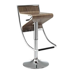 Modway - Zig-Zag Bar Stool in Walnut - With its visually compelling design and sturdy steel frame, the Zig-Zag Bar Stool is in a category of its own. Enjoy the diametric curvature of the walnut plywood seat, as you comfortably position yourself using the convenient footrest below. The seat adjusts using a hydraulic piston to accommodate both bar or counter height tables. Easily exit Zig-Zag by swiveling away from the countertop instead of the more tedious method of pushing the chair back and away. Perfect for entertaining guests at home, or for stylish seating in bars and other commercial areas.