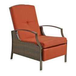 Ace Evert Inc. - Wicker Adjustable Recliner with Cushion in Terracotta - Relax outdoors in style with this Wicker Adjustable Recliner Chair. Features durable steel construction, 3 reclining positions, and fade-resistant fabric. In a weather-resistent paint finish with polywood on the arm.