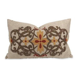 IK Amena Embroidered Pillow with Down Insert - The Amena pillow by designer Iffat Khan has a beautiful, natural linen color with embroidered accents in warm autumnal colors.