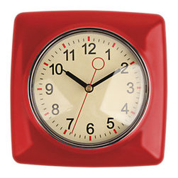 Kikkerland - Classic Wall Clock, Red - This wall clock has a glossy body and a classic look reminiscent of the 1950's. The large numbers can be read from afar, and the also easy-to-see because it's red second hand helps you time how long you can hold your breath. With five color options, you can find the perfect one for you.