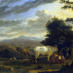 "Art MegaMart - Karel Dujardin Landscape with Cattle - 20"" x 25"" Premium Canvas Print - 20"" x 25"" Karel Dujardin Landscape with Cattle premium canvas print reproduced to meet museum quality standards. Our museum quality canvas prints are produced using high-precision print technology for a more accurate reproduction printed on high quality canvas with fade-resistant, archival inks. Our progressive business model allows us to offer works of art to you at the best wholesale pricing, significantly less than art gallery prices, affordable to all. We present a comprehensive collection of exceptional canvas art reproductions by Karel Dujardin."
