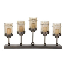 Uttermost - Lamya Metal Candelabra - Hand forged metal finished in antiqued bronze with transparent, copper brown glass globes