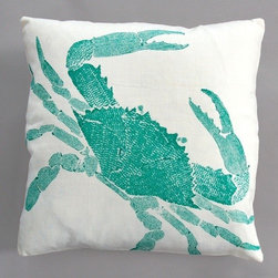 "Dermond Peterson - Big Crab Turquoise Pillow on White Linen - Bright, playful, and fun! Dermond Peterson pillows are a chic and sophisticated way to add a piece of art to your living room or bedroom. Features: -Color: Turquoise and White Linen. -Each pillow is made to order. -Hand block printed on natural linen using water based ink. -Feather and down insert. -Pillowcase is machine washable. -Machine wash cold on gentle cycle. -Made in Milwaukee, WI. -Overall dimensions: 20"" H x 20"" W x 4"" D."