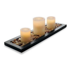 Merchsource, Llc - Loft Living Flameless Candle Garden - Set a beautiful display anywhere in your home with these gorgeous flameless candles. The elegant set includes a custom wood tray and genuine river rocks for creating a sophisticated candlescape.