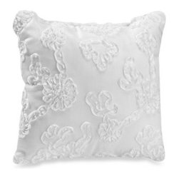 Glenna Jean - Glenna Jean Little Diva White Ribbon Decorative Pillow - White ribbon is fluffed and embroidered over white on this decorative pillow for added dreamy texture to your nursery. Coordinates with the Little Diva crib bedding.