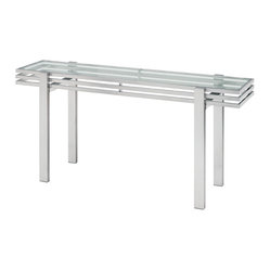 Nuevo Living - Linear Console Table - You've got a line on great design, so no wonder you're drawn to this sleek tri-level console. With its satin-finish frame and slim glass surface, it's a stylish addition to your entranceway, against a wall, or wherever you wish to display artwork, photos, etc., in your modern home.