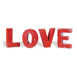 Industrial Metal Block Letters Spelling -'LOVE' - Industrial Chic metal block letters that spell out the word 'LOVE'. Has a wonderful rustic distressed red finish. They have nail hanging holes on the back so that they can be hung on a wall, although they make wonderful looking table top décor as well.