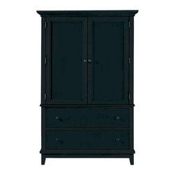 American Drew - American Drew Sterling Pointe Door Chest in Black - Black with Black Top - Sterling Pointe, from American Drew, is a collection of bedroom furniture with simple lines, but spectacular possibilities. Sterling Pointe is a versatile group that can easily capture any lifestyle and work in any setting. The collection can go from urban chic to country cottage, from transitional to coastal, and all personal styles in between! Sterling Pointe is offered in four popular colors; Black, white, cherry and maple. All case pieces come with matching color hardware and polished chrome finish hardware for even more personalization. In addition, the black and White colored case pieces have the option to customize the tops in either Cherry or Maple colors. When you choose this option, you get hardware in the matching case color, matching top color and polished chrome finish. The three bed styles are offered in multiple sizes to fit any room and setting. This is the perfect collection for that condo or town home, second bedroom or second home. Sterling Pointe has a timeless appeal that can adapt and last a lifetime. Sterling Pointe will capture the essence of your personal style.