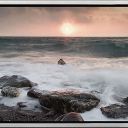 Elementem - Gray Sea Framed Print - Gray Sea is a an ocean photography print that features subtle colors and hues for a different kind of ocean feel.  A darker sunset than some of our other prints, Rocks Ashore offers a bit more of a mysterious scene.