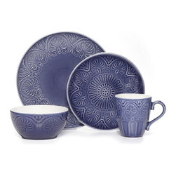 Pfaltzgraff - Pfaltzgraff Everyday Dolce Cobalt 16 Piece Dinnerware Set Multicolor - 5126708 - Shop for Sets from Hayneedle.com! The Pfaltzgraff Everyday Dolce Cobalt 16 Piece Dinnerware Set is the perfect bold canvas for everyday family dinners and special occasions. Intricate repeating medallions encircle the perimeters of each piece in colors that range from china blue to indigo in the detailed curves and edges. The salad plates feature an additional daisy pattern in the center while the mugs are enhanced with simple embossed ovals along the bottom half. Made of durable hand-crafted stoneware this set with service for four includes four each of the dinner plates salad plates cereal and/or soup bowls and mugs. Due to the nature of the reactive glaze used on these pieces to showcase the detailing each item will exhibit unique variations in color and pattern. These dishes are safe for use in the microwave and dishwasher but are not oven-safe baking dishes and not meant for use on direct heat. If you choose to use them to keep food warm in the oven the recommended temperature is not to exceed 200 degrees. Additional Dimensions: 4 soup/cereal bowls hold 30 oz. each Bowls measure 6 in. diam. x 3H in. 4 mugs hold 15 oz. each About PfaltzgraffWhen the name Pfaltzgraff is spoken people think of fine ceramics for the home and beautiful dinnerware for their table. For nearly 200 years the Pfaltzgraff brand has been associated with the highest quality of ceramic products. The company has grown from a little pottery shop that produced simple earthenware salt-glazed stoneware crocks and even flower pots into one of the most beloved designers and marketers of dinnerware drinkware ceramic accessories giftware and other products.
