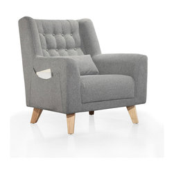 Heather Armchair - This cushy armchair is a lounger's paradise. With thickly padded arms, an included lumbar cushion, and a pocket on the side to hold your reading materials (or remotes, or that candy bar you hid from the kids), you'll never want to leave. And when you do, the tufted back makes it look so chic you'd never guess it was so comfortable.