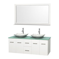 """Wyndham Collection - Centra 60"""" White Double Vanity, Green Glass Top, White Carrera Marble Sinks - Simplicity and elegance combine in the perfect lines of the Centra vanity by the Wyndham Collection. If cutting-edge contemporary design is your style then the Centra vanity is for you - modern, chic and built to last a lifetime. Available with green glass, pure white man-made stone, ivory marble or white carrera marble counters, with stunning vessel or undermount sink(s) and matching mirror(s). Featuring soft close door hinges, drawer glides, and meticulously finished with brushed chrome hardware. The attention to detail on this beautiful vanity is second to none."""