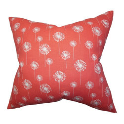 The Pillow Collection - Joop Floral Pillow, Pink - Add a splash of bright color to your living space by adding this vibrant accent pillow. Printed with floral details in white, the coral pink background gives off a happy vibe to this chic throw pillow. This 100% cotton-made pillow is ideal for indoor use and complements various styles. Mix and match with solids and other floral patterns from our selection of decor pillows. Hidden zipper closure for easy cover removal.  Knife edge finish on all four sides.  Reversible pillow with the same fabric on the back side.  Spot cleaning suggested.