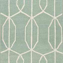 Jaipur Rugs - Flat Weave Geometric Pattern Blue Wool Handmade Rug - MR16, 2.6x8 - An array of simple flat weave designs in 100% wool - from simple modern geometrics to stripes and Ikats. Colors look modern and fresh and very contemporary.