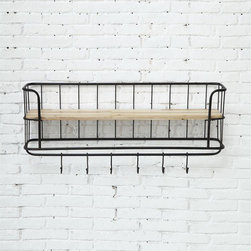 Country Chic Shelf with Hooks - This shelving unit is the perfect marriage of metal and wood. With a wide shelf and six hooks, it neatly holds your belongings (and then some).