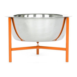 Doca Pet - Doca Pet Y.Bowl, Orange, Small - Powder coated metal stand with rubber non-skid feet. Bowl includes 1 stainless steel bowl.