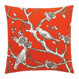 DwellStudio Vintage Blossom Persimmon Pillow - My favorite low-cost decorating tip is to change out toss pillows. They are relatively inexpensive and will completely change the look and feel of a room.