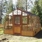 """Solite greenhouse kits - 11 x 16 Solite greenhouse.  Redwood frame.  Modified by putting it on an 18"""" tall Sturdi-built wooden base (standard product is on 9 1/2"""" base)"""