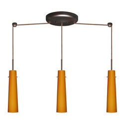 Besa Lighting - Besa Lighting 3BB-567480 Camino 3 Light Linear Pendant - Camino is a softly tapered narrow cylinder, creating a refined contemporary look. Our Amber Matte glass is a caramel colored cased glass and opal inner layer. The orange glow has a low key harmonious display that exudes a warm mood. When lit the glass is vitalizing as well as stylish. The smooth satin finish on the outer layer is a result of an extensive etching process. This blown glass is handcrafted by a skilled artisan, utilizing century-old techniques passed down from generation to generation. The cord pendant fixture is equipped with three (3) 10' SVT cordsets and a 3-light linear canopy, two (2) suspension stemhooks included.Features: