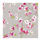 Gray & Magenta Cherry Blossom Linen Fabric - Light gray & fuschia cherry blossom linen print that will make your room as refined & serene as a real Japanese garden.Recover your chair. Upholster a wall. Create a framed piece of art. Sew your own home accent. Whatever your decorating project, Loom's gorgeous, designer fabrics by the yard are up to the challenge!