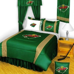 Sports Coverage - Minnesota Wild NHL Sidelines Complete Bedroom Package - Twin - Save big and show your NHL team spirit with Minnesota Wild Sidelines Complete Bedroom Package which includes a Comforter, Micro Fiber Sheet set, Shams, Pillows, Bedskirt, Drapes and Valance! Buy the complete Bedroom Package and save off our already discounted prices - the best we could find; when you buy the complete bedroom package instead of each piece separately, you save and save big.   Microfiber 100% polyester Hem Sheet sheet sets have an ultrafine peach weave that is softer and more comfortable than cotton, the entire width of the extra deep 4 1/2 hem of the flat sheet. Bedskirt available in team color with no team logo printed on them.  Includes:  -  Comforter - Twin 66 x 86, Full/Queen 86 x 86,    -  Flat Sheet - Twin 66 x 96, Full 81 x 96,    - Fitted Sheet - Twin 39 x 75, Full 54 x 75, ,    -  Pillow case Standard - 21 x 30,    - Pillow Sham - 25 x 31,    -  Bedskirt - Twin 76 x 39, Full 76 x 54, ,    - Window Drapes: 82x 63 ,    - 18 Toss Pillow ,    -  Window Valance : 88 x 14 ,