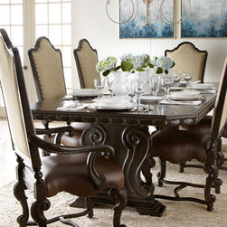 Horchow - Perona Dining Set - Perfectly suited to soaring ceilings, open floor plans, and awe-inspiring interiors, this show-stopping dining furniture combines generous proportions and distinctive ornamentation with quiet depth and a sense of history. Save on discounted delivery and...