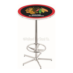 Holland Bar Stool - Holland Bar Stool L216 - 42 Inch Chrome Chicago Blackhawks Pub Table - L216 - 42 Inch Chrome Chicago Blackhawks Pub Table  belongs to NHL Collection by Holland Bar Stool Made for the ultimate sports fan, impress your buddies with this knockout from Holland Bar Stool. This L216 Chicago Blackhawks table with retro inspried base provides a quality piece to for your Man Cave. You can't find a higher quality logo table on the market. The plating grade steel used to build the frame ensures it will withstand the abuse of the rowdiest of friends for years to come. The structure is triple chrome plated to ensure a rich, sleek, long lasting finish. If you're finishing your bar or game room, do it right with a table from Holland Bar Stool.  Pub Table (1)