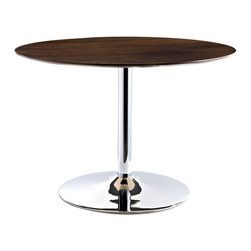 Rostrum Dining Table - Bring vitality to mineral life with the Rostrum Dining Table. Fashioned with a round walnut top on a chrome plated steel pedestal base, experience vegetation from a seeming state of quiescence. A perfect addition to casual or formal dining environments.