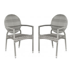 Safavieh - Valdez Indoor-Outdoor Stacking Arm Chair - The fun creative design of the grey Valdez stacking armchair brings a new level of style to indoor and outdoor guest seating.  This sturdy, durable chair with modern round back is sold in sets of two and crafted with easy care, weather resistant PE wicker and aluminum.