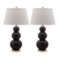 "Safavieh Mid-Century Triple Gourd Ceramic Table Lamp in Dark Purple, Set of 2 - Safavieh Mid-Century Triple Gourd Ceramic Table Lamp in Dark PurpleBalance fashion, form and function with this Mid-Century Triple Gourd table lamp, its three beautifully turned white ceramic gourds graduating in size. With brushed gold stand and fittings, crisp white cotton tapered shade, and a 3-way switch that allows you to adjust the light in your room, adapts beautifully to any setting.Size:  16""Dia. x 30""H, Base 5.5""Dia. X 1""H"