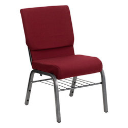 Flash Furniture - Hercules Series 18.5'' Wide Burgundy Church Chair With 4.25'' Thick Seat Book Ra - This HERCULES Series Church Chair will add elegance and class to any Church, Hotel, Banquet Room or Conference setting. If you are looking for a chair with comfort and style that is easy to move and stores away with ease, then look no further. This built to last chair has a 16-gauge steel frame that has been tested to hold 800 lbs. This church chair features double support bracing, ganging clamps, a cushion that graduates to a 4.25'' thick waterfall edge and plastic floor glides to protect non-carpeted floors. Our church chair is manufactured by one of the most reputable stack chair manufacturers in the industry, you can be assured of the quality of this chair offered to you.
