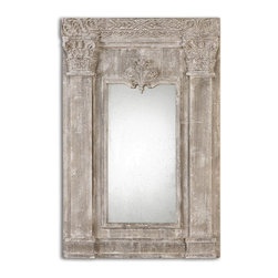 "Uttermost - Anicetus Heavily Distressed Stone Gray Rectangular Mirror - Frame Dimensions: 34""W X 50.5""H X 3.375""D; Mirror Dimensions: 15.75""W X31""H; Finish: Heavily Distressed Stone Gray; Material: Magnesium OxideNo; Beveled: ; Shape: Rectangular; Weight: 50; Included: Brackets, Ready to Hang Vertically or Horizontally"