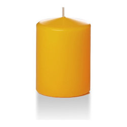 "Neo-Image Candlelight Ltd - Set of 6 - Yummi 3"" x 4"" Harvest Gold Round Pillar Candles - Our unscented 3""x4"" Round Pillar Candles are ideal when creating a beautiful candlelight arrangement for the home or wedding decor.  Available in 44 trendy candle colors hand over dipped with white core to match and compliment your home decor or wedding centerpiece decoration."