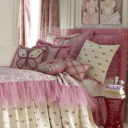 Dian Austin Couture Home - Dian Austin Couture Home European Butterfly/Tulle Sham - Pink and ivory bed linens are frothed with loads of candy-pink tulle. This whimsical collection is handmade in the USA of domestic and imported rayon/mercerized Egyptian cotton jacquards, polyester, nylon, and silk fabrics by Dian Austin Couture Home&#1...