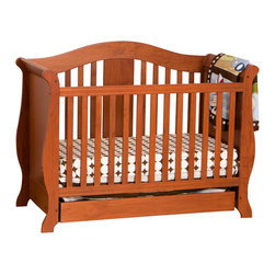 Stork Craft - Stork Craft Vittoria 3-in-1 Fixed Side Convertible Crib in Oak - Stork Craft - Cribs - 0458722L - The Vittoria 3 in 1 Fixed Side Convertible Crib by Stork Craft offers a classic sleigh design that adds a rich sophistication to the nursery.The extra large bottom drawer allows for ample storage of your child's most precious belongings. It has a well built construction made of attractive solid wood and wood products offered in a variety of beautiful non toxic durable finishes. This crib is not only gorgeous but it is versatile; converting from a standard crib to a daybed and ultimately to a full-size bed complete with headboard and footboard (full size bed rails not included). Set-up this extravagant Vittoria Fixed Side Convertible Crib effortlessly with it's easy to follow directions and extra sturdy stationary side rails. Complete your nursery look by adding complimentary accessories by Stork Craft: a changing table chest dresser or glider and ottoman.