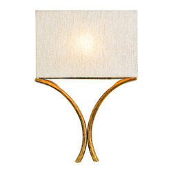 """Currey & Company - Currey & Company Cornwall Wall Sconce - Two curves join to form the modern Y-shaped base of Currey and Company's Cornwall wall sconce. Decorative and functional, this transitional light fixture is topped with a simple rectangular shade. 15""""W x 18""""H x 4""""D; Wrought iron; French gold leaf finish; Natural linen shade; Accepts 24W CFL bulb (not included); Compliant with Americans with Disabilities Act; Includes 40"""" cord cover and 8' lamp cord; May be hardwired or plugged inEngineered to meet rigid UL safety specifications; Hand finished."""