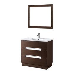 Adornus - Adornus VERONA-36-WAL -C Walnut Vanity - Free standing all wood vanity in a smooth walnut veneer finish