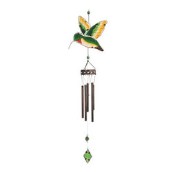 "GSC - 38.5"" Green Hummingbird Copper Toned Wind Chime with Green Diamond - This gorgeous 38.5"" Green Hummingbird Copper Toned Wind Chime with Green Diamond has the finest details and highest quality you will find anywhere! 38.5"" Green Hummingbird Copper Toned Wind Chime with Green Diamond is truly remarkable."
