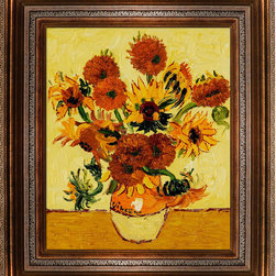 "overstockArt.com - Vase with Fifteen Sunflowers - Vincent Van Gogh Oil Painting - 20"" x 24"" Oil Painting On Canvas Hand painted oil reproduction of a famous Van Gogh painting, Vase with Fifteen Sunflowers. The original masterpiece was created in 1889. Today it has been carefully recreated detail-by-detail, color-by-color to near perfection. Van Gogh created copies of his own work while in St. Remy asylum. The sunflower paintings reminded him of the happy days spent in a yellow house with another artist. By reproducing his own work he balked at the notion of supremacy for the ""one-off"" and ""never-to-be-repeated"" original. In fact he repainted his images so that he might retain a copy of what he gave away to friends. Vincent Van Gogh's restless spirit and depressive mental state fired his artistic work with great joy and, sadly, equally great despair. Known as a prolific Post-Impressionist, he produced many paintings that were heavily biographical. This work of art has the same emotions and beauty as the original by Van Gogh. Why not grace your home with this reproduced masterpiece? It is sure to bring many admirers!"