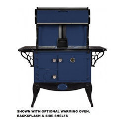 "Stanley - WSERWBNBBLU Waterford Stanley 36"" Wood Stove with 35 000 Btu  1.8 Cu. Ft  Griddl - The large firebox will hold enough wood to heat your home for several hours A precision draft spinwheel lets you accurately control cooking and room temperatures As a home heater the Stanley performs well featuring both primary and secondary combusti..."