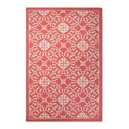Coastal Living Providence Rug - Red and Beige, 5 X 8 - It may inspire reveries of a holiday passed along the shore, a summer spent on the sea, or a secluded cottage illumed by sunny days and starry nights. Inspired by the popular lifestyle publication Coastal Livinge magazine, the Coastal Living Providence Rug - Red and Beige is fashioned from hand-tufted wool that offers luxurious softness and visual depth.