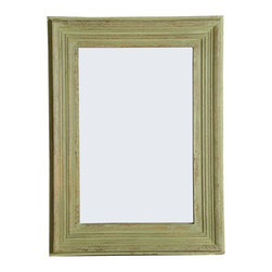 Rectangular Mango Wood Mirror MIRA, Green Antique Finish - Handcrafted Rectangular Mirror with Green Antique Finish.