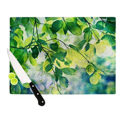 """Kess InHouse - Sylvia Cook """"Leaves"""" Teal Green Cutting Board (11"""" x 7.5"""") - These sturdy tempered glass cutting boards will make everything you chop look like a Dutch painting. Perfect the art of cooking with your KESS InHouse unique art cutting board. Go for patterns or painted, either way this non-skid, dishwasher safe cutting board is perfect for preparing any artistic dinner or serving. Cut, chop, serve or frame, all of these unique cutting boards are gorgeous."""